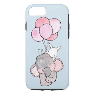 Elephant and Bunny Friends with Pink Balloons iPhone 8/7 Case