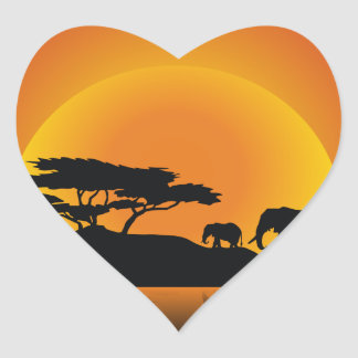 elephant and calf in african sunset heart sticker