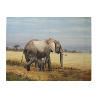Elephant and calf oil painting wood wall decor