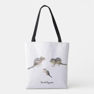 Elephant and Chipmunks Tote Bag