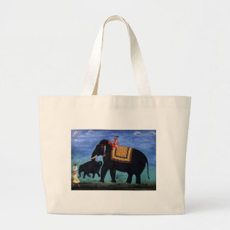 Elephant and Cub Jumbo Tote Bag