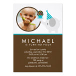 Elephant and Cupcake Birthday Announcements 13 Cm X 18 Cm Invitation Card