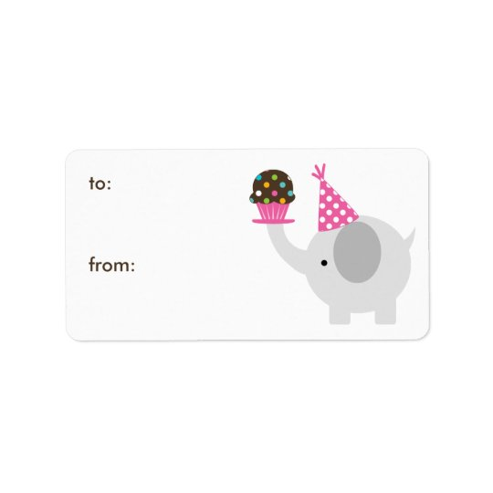 Elephant and Cupcake Gift Tags Address Label