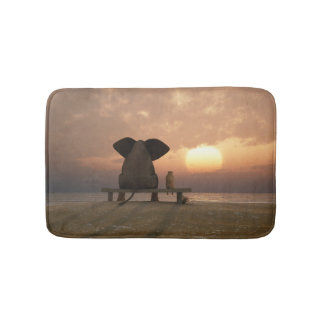 Elephant and Dog Friends Bath Mats