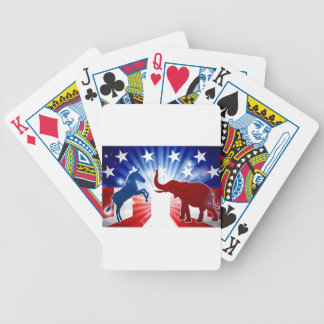 Elephant and Donkey Mascots Silhouettes Bicycle Playing Cards