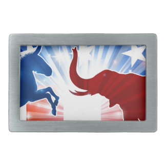Elephant and Donkey Mascots Silhouettes Rectangular Belt Buckle