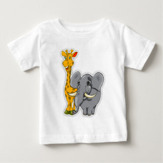 Elephant And Giraffe Baby T Shirt Matches Cards