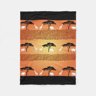 Elephant and Giraffe Safari Art Fleece Blanket
