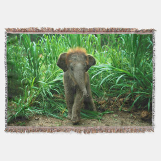 Elephant and Grass Throw Blanket