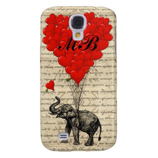 Elephant and heart balloon with monogram galaxy s4 case