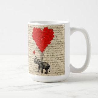 Elephant and heart shaped balloons basic white mug