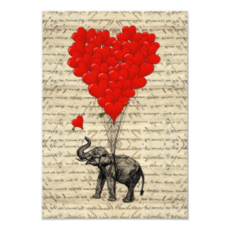 Elephant and heart shaped balloons 3.5x5 paper invitation card