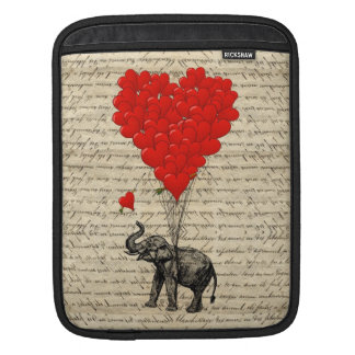 Elephant and heart shaped balloons iPad sleeve