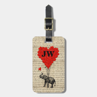 Elephant and heart shaped balloons luggage tag