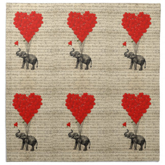 Elephant and heart shaped balloons napkin