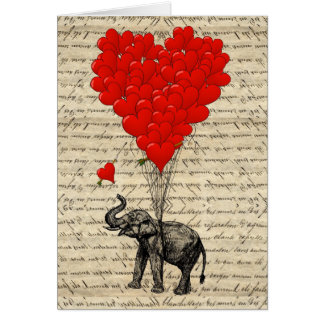 Elephant and heart shaped balloons note card