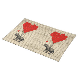 Elephant and heart shaped balloons placemat