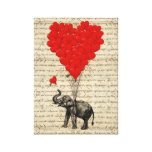 Elephant and heart shaped balloons stretched canvas print