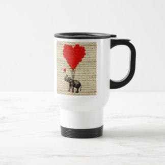 Elephant and heart shaped balloons travel mug