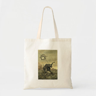 Elephant and Hot Air Balloon Illustration Tote Bags
