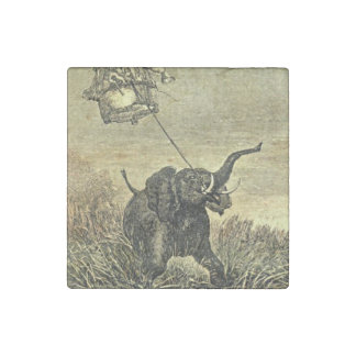 Elephant and Hot Air Balloon Illustration Stone Magnet