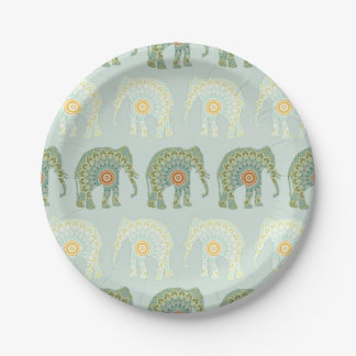 Elephant and Mandala Pattern in Light Green Paper Plate