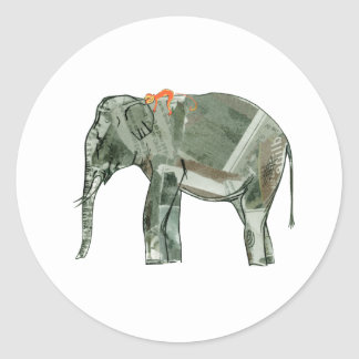 Elephant and monkey classic round sticker