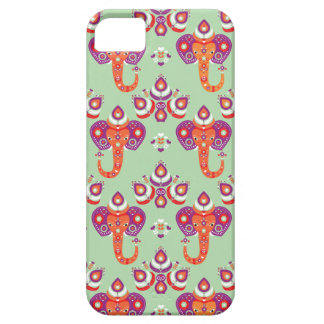 Elephant and peacock illustration pattern iPhone 5/5S cases