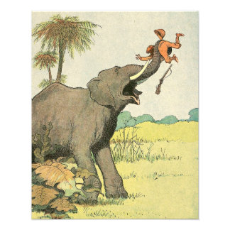 Elephant and Poacher in the Jungle Illustrated Photo Print