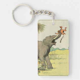 Elephant and Poacher in the Jungle Double-Sided Rectangular Acrylic Key Ring