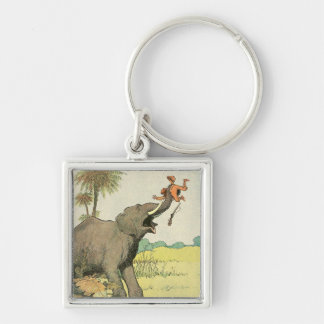 Elephant and Poacher in the Jungle Keychain