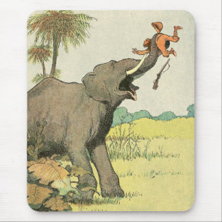 Elephant and Poacher in the Jungle Mouse Pad