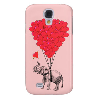 Elephant and red heart balloons galaxy s4 case
