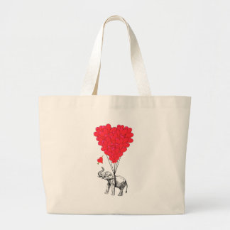 Elephant and red heart balloons jumbo tote bag