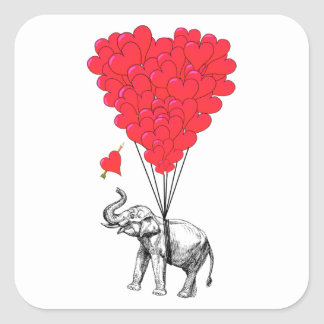 Elephant and red heart balloons square sticker