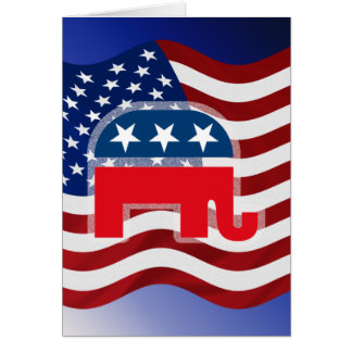 Elephant and USA Flag.tif Greeting Card