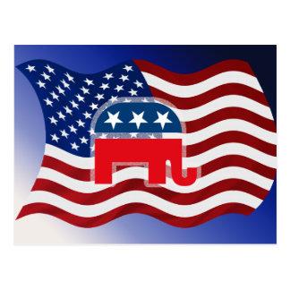 Elephant and USA Flag.tif Postcard