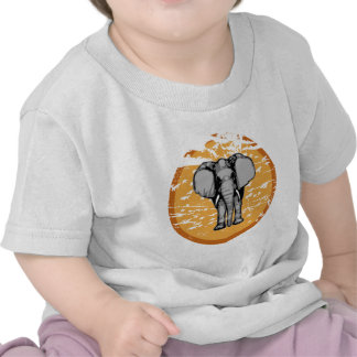 Elephant and Vintage Faded Sun Tee Shirt