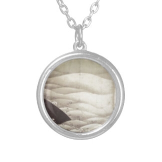 Elephant and Whale (diptych) by Ito Jakuchu Round Pendant Necklace