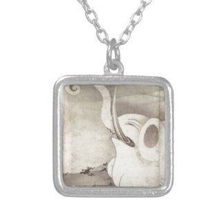 Elephant and Whale (diptych) by Ito Jakuchu Square Pendant Necklace