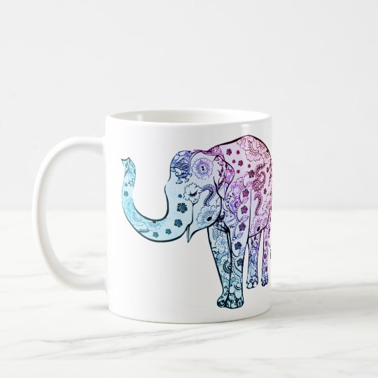 elephant animal colourful artsy tea coffee mug