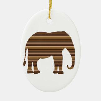 ELEPHANT animal wild pet Gold Stripe Brown Christmas Ornament
