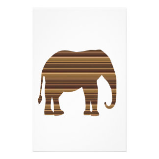 ELEPHANT animal wild pet Gold Stripe Brown NVN286 Personalised Stationery