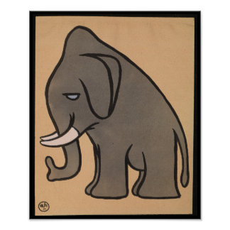 Elephant - Antiquarian, Colorful Book Illustration Poster