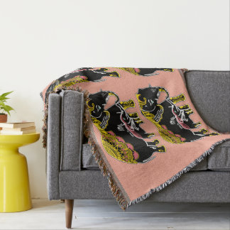 Elephant Art Black, Yellow, Peach Throw Blanket