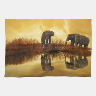 Elephant Art Tea Towel