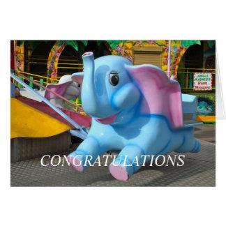 Elephant at a Funfair Congratulations Greeting Card