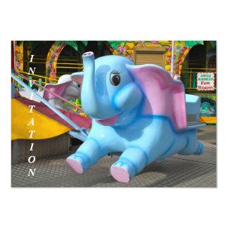 "Elephant at a Funfair Invitation 5"" X 7"" Invitation Card"