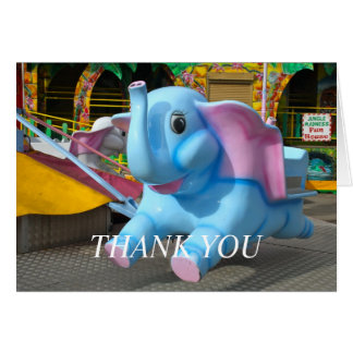 Elephant at a Funfair Thank You Greeting Card