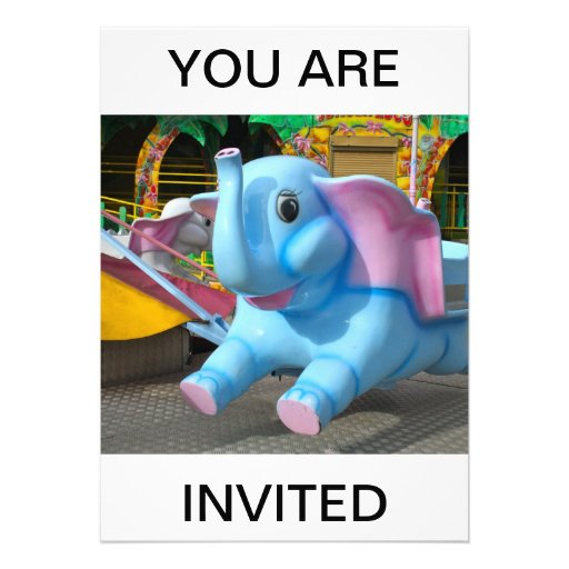 Elephant at a Funfair You are Invited Invitation